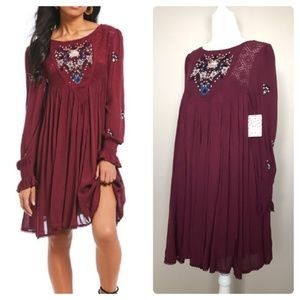 FREE PEOPLE Mohave Embroidered Boho Mini Dress NWT